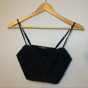 Express black floral lace crop tank top small